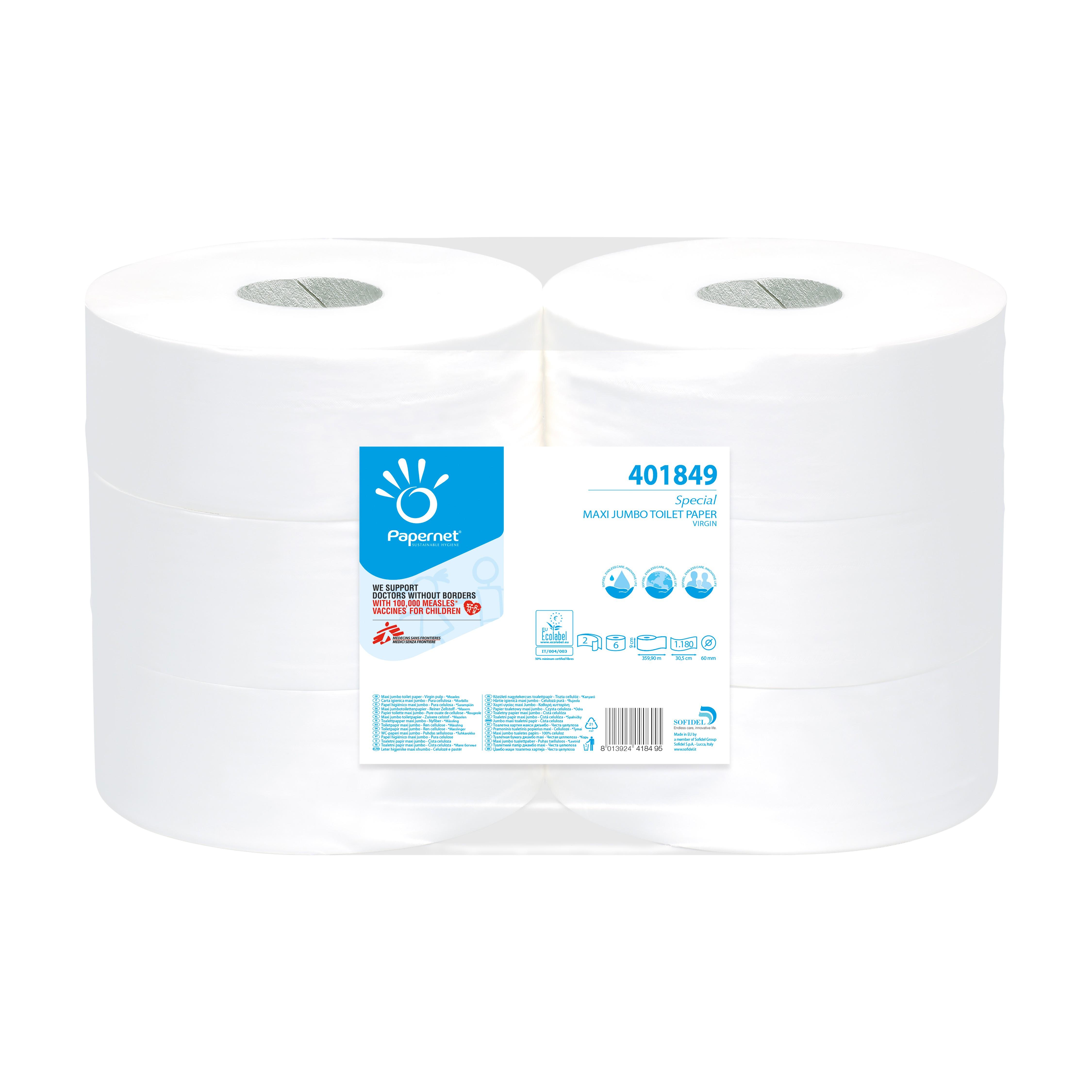 Toilettenpapier Grossrolle Zellstoff hochweiss 2-lagig