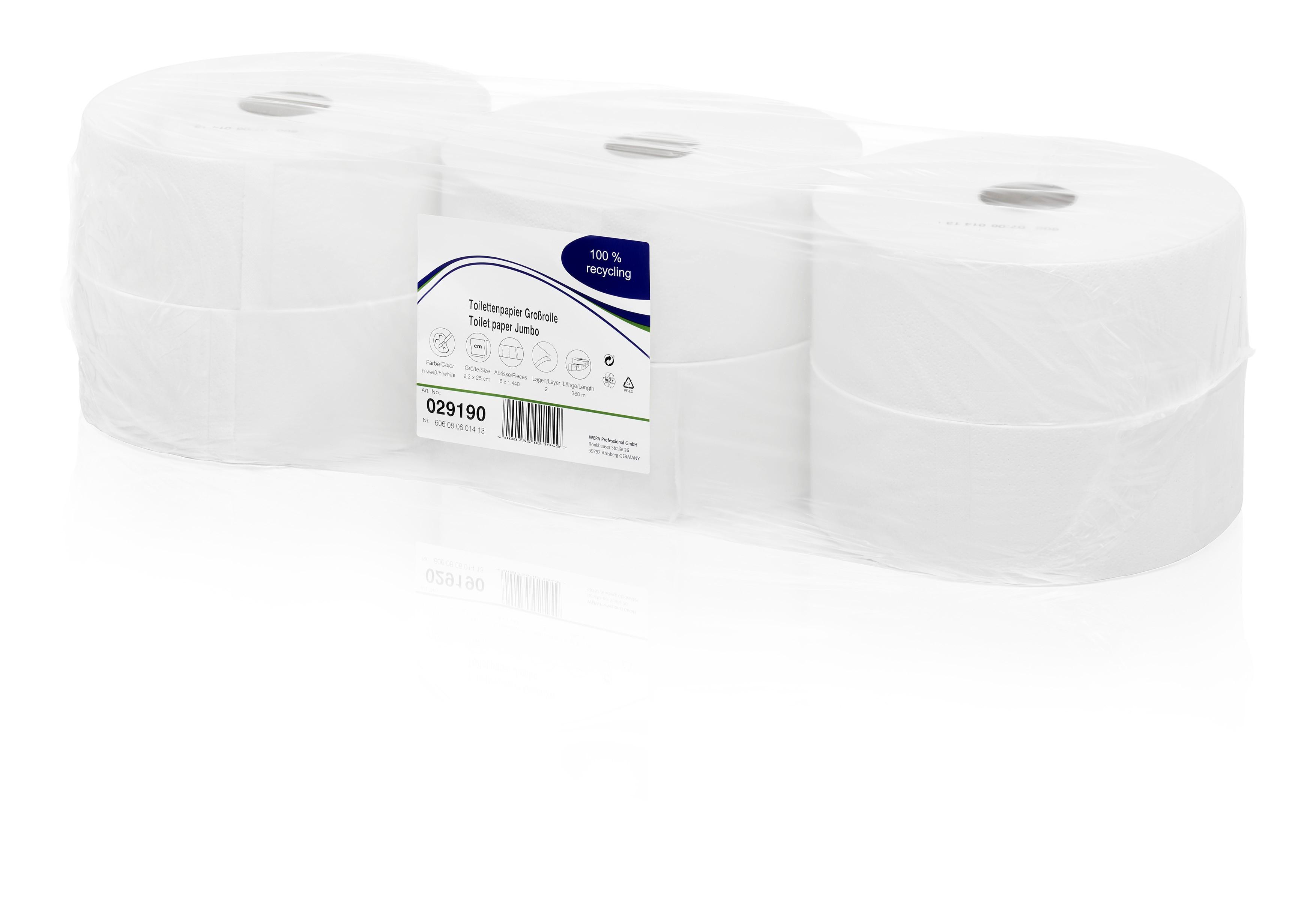 Toilettenpapier Grossrolle WEPA Comfort Hochweiß 2-lagig